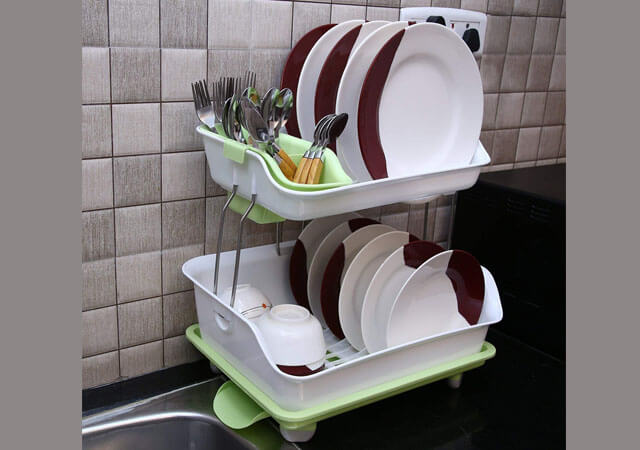 HOME CUBE Plastic 2 Layer Dish Rack Over Sink Drying Organizer Vegetable Fruit Drainer