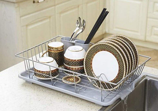 HOME CUBE Stainless Steel Dish Rack Over Sink Drying Organizer Vegetable Fruit Drainer