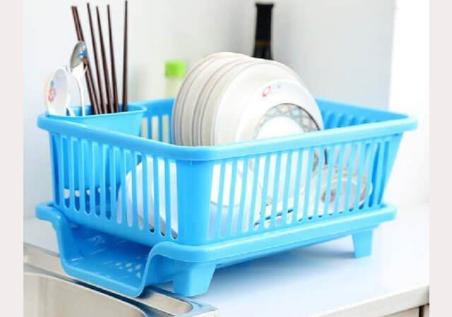 Isel Kitchen Sink Dish Drying Drainer Rack Holder Basket Organizer with Tray