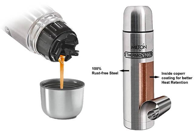 Milton Thermosteel Flip Lid Flask with copper coating