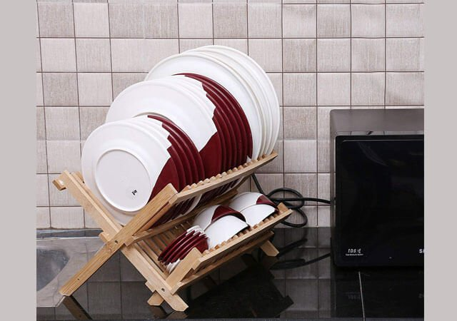 STORIA Sterling Bamboo Foldable Dish Rack Perfect Plate Bowl Double Drainer Wooden Utensil